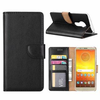 Luxe Lederen Bookcase hoesje voor de Motorola Moto E5 - Zwart