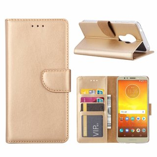 Luxe Lederen Bookcase hoesje voor de Motorola Moto E5 - Goud