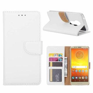 Luxe Lederen Bookcase hoesje voor de Motorola Moto E5 - Wit