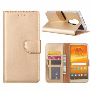 Bookcase Motorola Moto E5 Plus hoesje - Goud