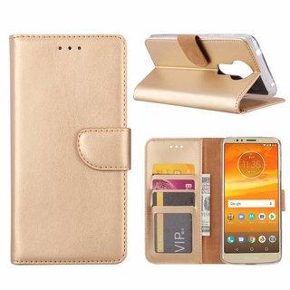 Luxe Lederen Bookcase hoesje voor de Motorola Moto E5 Plus - Goud