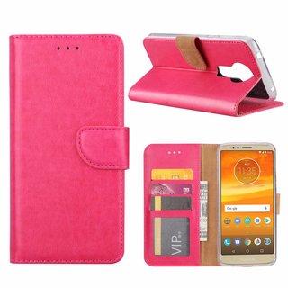 Luxe Lederen Bookcase hoesje voor de Motorola Moto E5 Plus - Roze