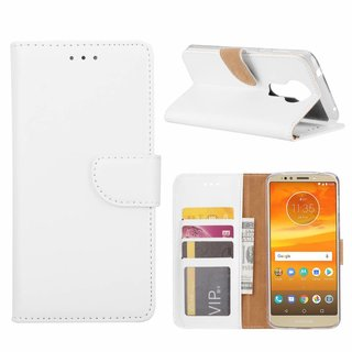 Luxe Lederen Bookcase hoesje voor de Motorola Moto E5 Plus - Wit