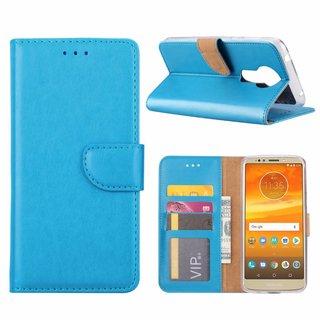 Luxe Lederen Bookcase hoesje voor de Motorola Moto E5 Plus - Blauw