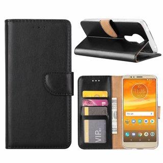 Luxe Lederen Bookcase hoesje voor de Motorola Moto E5 Plus - Zwart