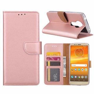 Luxe Lederen Bookcase hoesje voor de Motorola Moto E5 Plus - Metallic Roze