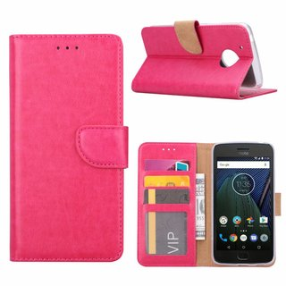 Luxe Lederen Bookcase hoesje voor de Motorola Moto G5 - Roze