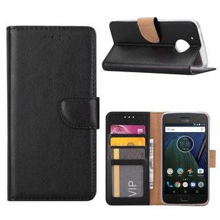 Luxe Lederen Bookcase hoesje voor de Motorola Moto G5 - Zwart