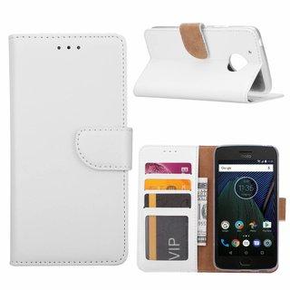 Luxe Lederen Bookcase hoesje voor de Motorola Moto G5 - Wit