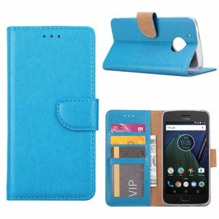 Luxe Lederen Bookcase hoesje voor de Motorola Moto G5 - Blauw