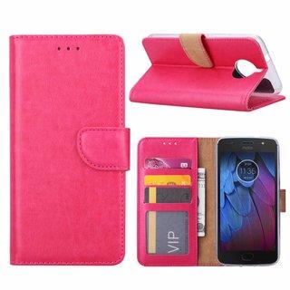 Luxe Lederen Bookcase hoesje voor de Motorola Moto G5S - Roze