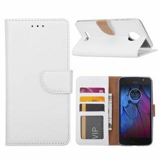 Luxe Lederen Bookcase hoesje voor de Motorola Moto G5S - Wit