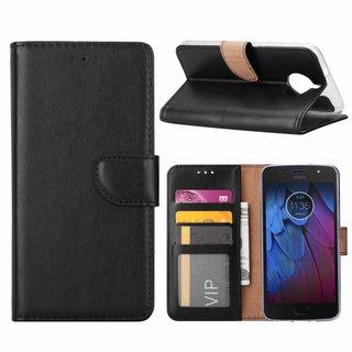Luxe Lederen Bookcase hoesje voor de Motorola Moto G5S - Zwart