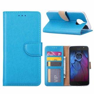 Luxe Lederen Bookcase hoesje voor de Motorola Moto G5S - Blauw
