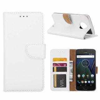 Luxe Lederen Bookcase hoesje voor de Motorola Moto G6 Plus - Wit
