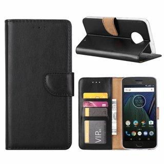 Luxe Lederen Bookcase hoesje voor de Motorola Moto G6 Plus - Zwart
