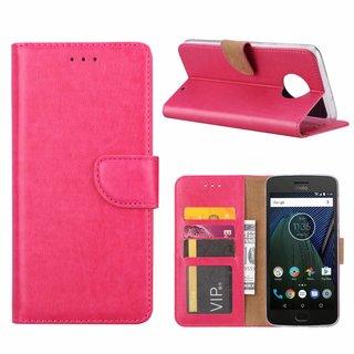 Luxe Lederen Bookcase hoesje voor de Motorola Moto G6 Plus - Roze