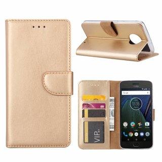 Luxe Lederen Bookcase hoesje voor de Motorola Moto G6 Plus - Goud