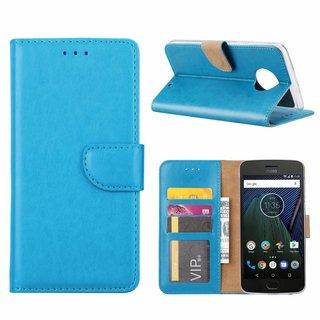 Luxe Lederen Bookcase hoesje voor de Motorola Moto G6 Plus - Blauw