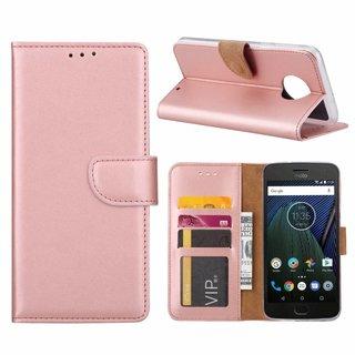 Luxe Lederen Bookcase hoesje voor de Motorola Moto G6 Plus - Metallic Roze
