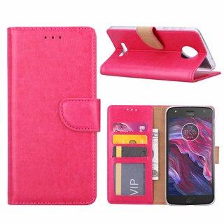 Bookcase Motorola Moto X4 hoesje - Roze