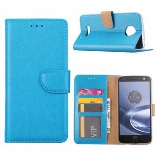 Luxe Lederen Bookcase hoesje voor de Motorola Moto Z Force - Blauw