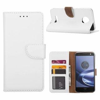 Luxe Lederen Bookcase hoesje voor de Motorola Moto Z Force - Wit