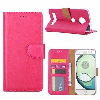 Luxe Lederen Bookcase hoesje voor de Motorola Moto Z Play - Roze