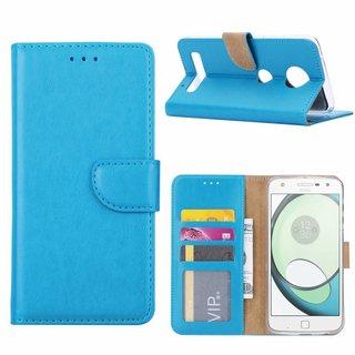 Luxe Lederen Bookcase hoesje voor de Motorola Moto Z Play - Blauw