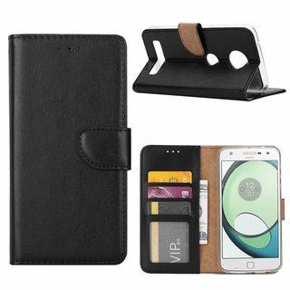 Luxe Lederen Bookcase hoesje voor de Motorola Moto Z Play - Zwart
