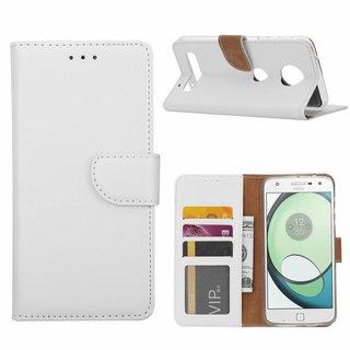 Luxe Lederen Bookcase hoesje voor de Motorola Moto Z Play - Wit