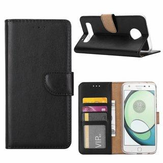 Luxe Lederen Bookcase hoesje voor de Motorola Moto Z2 Play - Zwart
