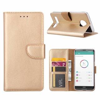 Bookcase Motorola Moto Z3 Play hoesje - Goud
