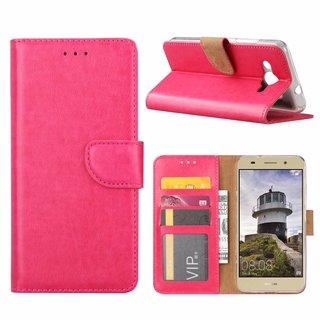 Luxe Lederen Bookcase hoesje voor de Huawei Y3 2018 - Roze