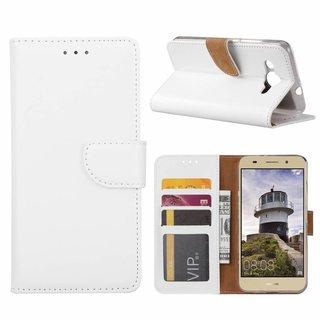 Luxe Lederen Bookcase hoesje voor de Huawei Y3 2018 - Wit