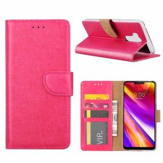 Luxe Lederen Bookcase hoesje voor de LG G7 ThinQ - Roze