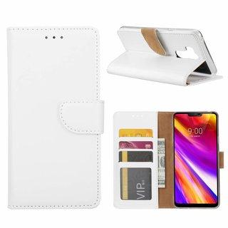 Luxe Lederen Bookcase hoesje voor de LG G7 ThinQ - Wit