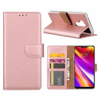 Luxe Lederen Bookcase hoesje voor de LG G7 ThinQ - Metallic Roze