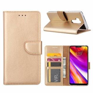 Luxe Lederen Bookcase hoesje voor de LG G7 ThinQ - Goud