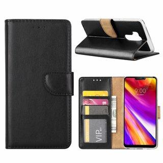 Luxe Lederen Bookcase hoesje voor de LG G7 ThinQ - Zwart
