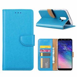 Luxe Lederen Bookcase hoesje voor de Samsung Galaxy A6 Plus 2018 - Blauw