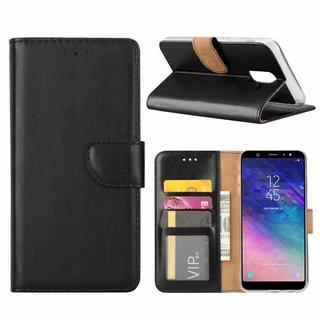 Luxe Lederen Bookcase hoesje voor de Samsung Galaxy A6 Plus 2018 - Zwart