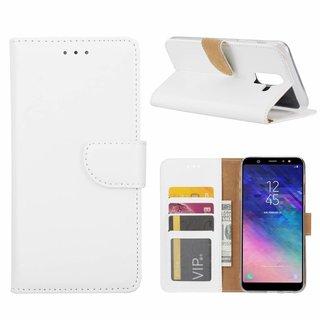 Luxe Lederen Bookcase hoesje voor de Samsung Galaxy A6 Plus 2018 - Wit