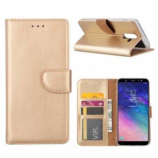 Luxe Lederen Bookcase hoesje voor de Samsung Galaxy A6 Plus 2018 - Goud