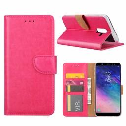 Luxe Lederen Bookcase hoesje voor de Samsung Galaxy A6 Plus 2018 - Roze