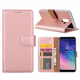 Luxe Lederen Bookcase hoesje voor de Samsung Galaxy A6 Plus 2018 - Metallic Roze
