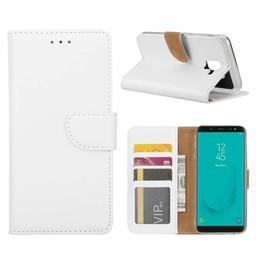 Luxe Lederen Bookcase hoesje voor de Samsung Galaxy J6 2018 - Wit