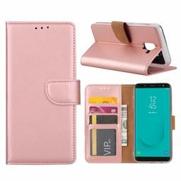 Luxe Lederen Bookcase hoesje voor de Samsung Galaxy J6 2018 - Metallic Roze
