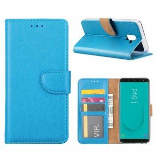 Luxe Lederen Bookcase hoesje voor de Samsung Galaxy J6 2018 - Blauw