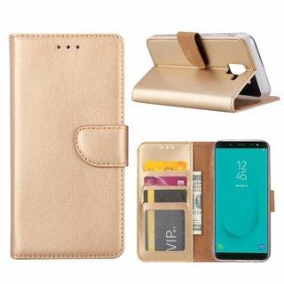 Luxe Lederen Bookcase hoesje voor de Samsung Galaxy J6 2018 - Goud